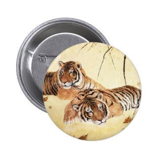 Arte clásico del estilo chino, tigres de descanso pin redondo de 2 pulgadas
