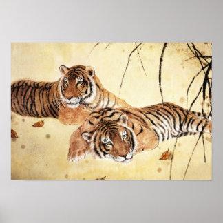 Arte clásico del estilo chino, tigres vigilantes póster