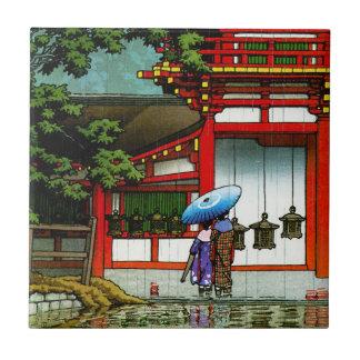 Arte clásico japonés oriental fresco de la lluvia  azulejo cuadrado pequeño