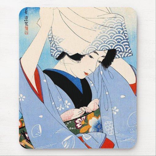 Arte clásico japonés oriental fresco de la señora alfombrillas de ratones