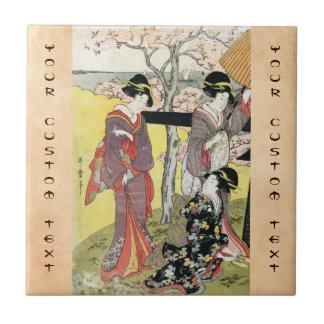 Arte clásico japonés oriental fresco de la señora  azulejo cuadrado pequeño