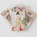 Arte clásico japonés oriental fresco de la señora  barajas de cartas
