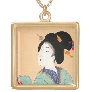 Arte clásico japonés oriental fresco de la señora  collar personalizado