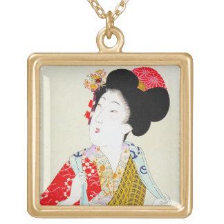 Arte clásico japonés oriental fresco de la señora  colgante