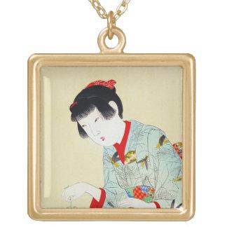 Arte clásico japonés oriental fresco de la señora  collar
