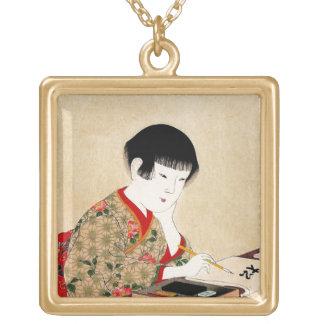 Arte clásico japonés oriental fresco de la señora  grimpolas