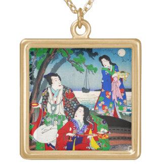 Arte clásico japonés oriental fresco de la señora  grímpola
