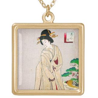 Arte clásico japonés oriental fresco de la señora  collares