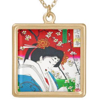 Arte clásico japonés oriental fresco de la señora  pendiente personalizado
