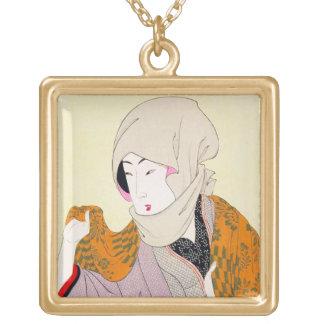 Arte clásico japonés oriental fresco de la señora  joyeria