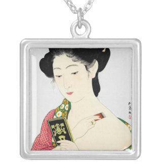 Arte clásico japonés oriental fresco de la señora  pendientes