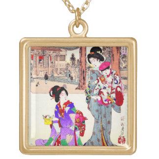 Arte clásico japonés oriental fresco de la señora  collares personalizados
