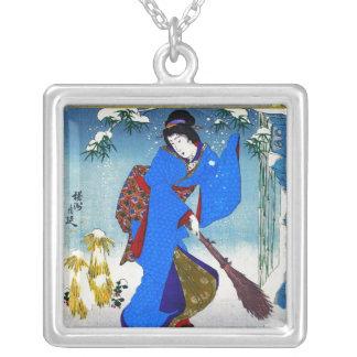 Arte clásico japonés oriental fresco de la señora  joyeria personalizada
