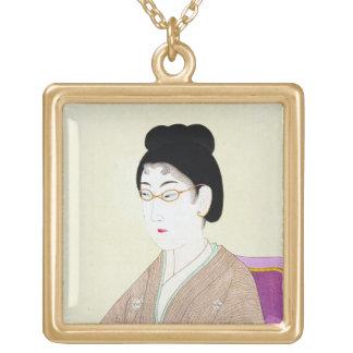 Arte clásico japonés oriental fresco de la señora  colgantes