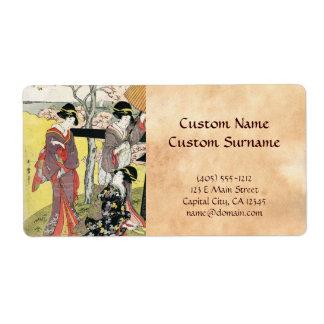 Arte clásico japonés oriental fresco de la señora etiqueta de envío