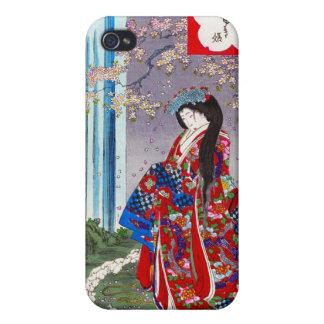 Arte clásico japonés oriental fresco de la señora  iPhone 4 funda