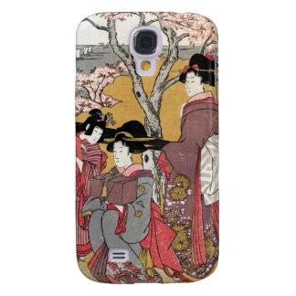 Arte clásico japonés oriental fresco de la señora funda para galaxy s4