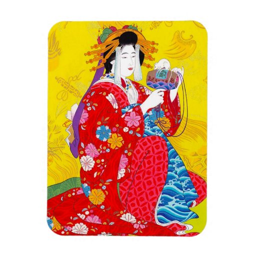 Arte clásico japonés oriental fresco de la señora  iman flexible