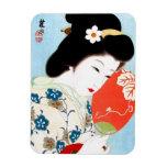 Arte clásico japonés oriental fresco de la señora  imanes
