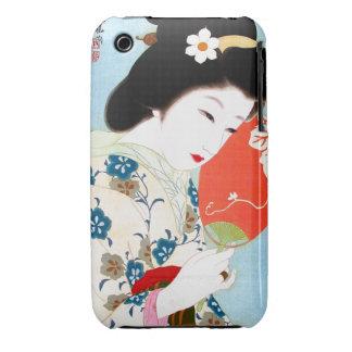 Arte clásico japonés oriental fresco de la señora iPhone 3 Case-Mate cobertura