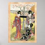 Arte clásico japonés oriental fresco de la señora  impresiones