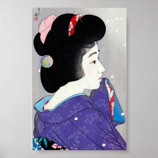 Arte clásico japonés oriental fresco de la señora  poster
