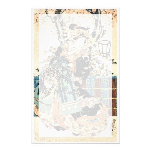 Arte clásico japonés oriental fresco de la señora   papeleria de diseño
