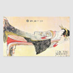 Arte clásico japonés oriental fresco de la señora  etiqueta