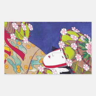 Arte clásico japonés oriental fresco de la señora pegatina rectangular