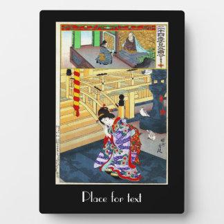 Arte clásico japonés oriental fresco de la señora placas