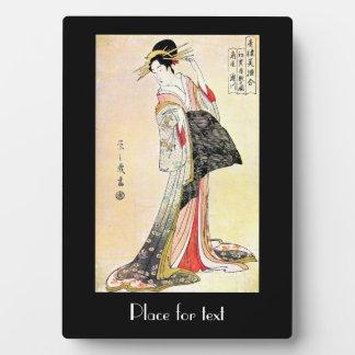 Arte clásico japonés oriental fresco de la señora placas de madera