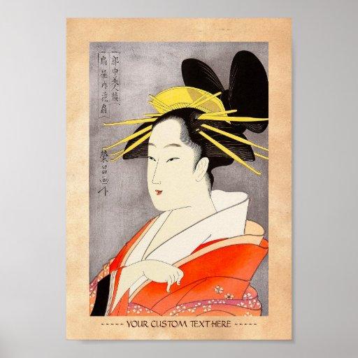 Arte clásico japonés oriental fresco de la señora  póster