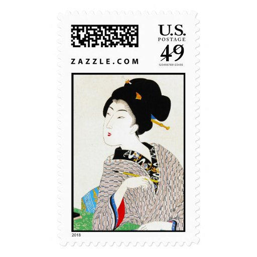 Arte clásico japonés oriental fresco de la señora sello