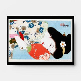 Arte clásico japonés oriental fresco de la señora