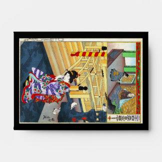 Arte clásico japonés oriental fresco de la señora sobres