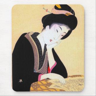 Arte clásico japonés oriental fresco de la señora  tapetes de ratones