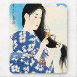 Arte clásico japonés oriental fresco de la señora  mousepads