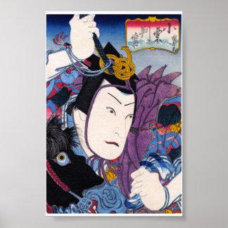 Arte clásico japonés oriental fresco del actor del posters