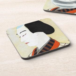 Arte clásico japonés oriental fresco del actor del posavasos de bebida
