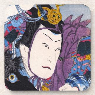 Arte clásico japonés oriental fresco del actor del posavasos de bebidas