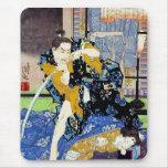 Arte clásico japonés oriental fresco del guerrero  tapete de ratones