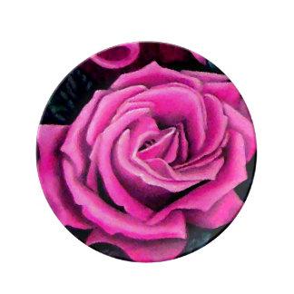 Arte cobrable color de rosa rosado elegante plato de cerámica