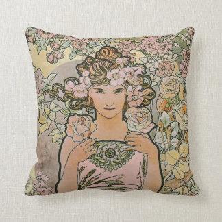 Arte color de rosa Nouveau del florista Cojin