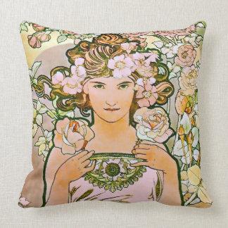 Arte color de rosa Nouveau del florista Cojines