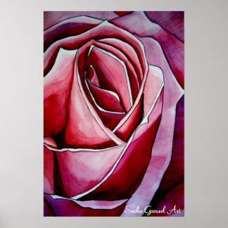 Arte color de rosa original abstracto macro rosado póster