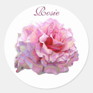 Arte color de rosa pegatina redonda