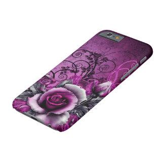 arte color de rosa púrpura del remolino del vector funda para iPhone 6 barely there