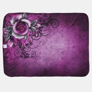 arte color de rosa púrpura del remolino del vector mantas de bebé