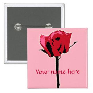 Arte color de rosa rojo y rosado pins