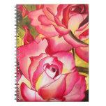 Arte color de rosa rosado de la acuarela de Hannah Libretas Espirales